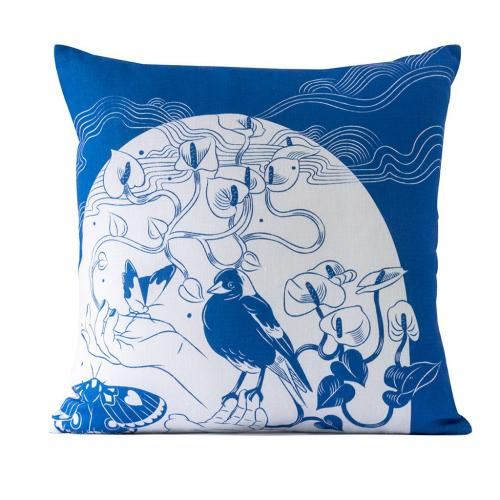 In the Garden Classic Blue Linen Cushion Cover